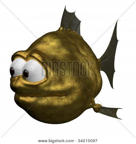 strange goldfish on white background - 3d illustration poster