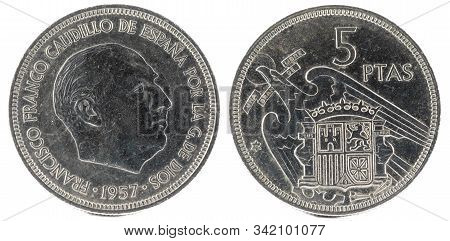 Old Spanish Coin Of 5 Pesetas, Francisco Franco. Year 1957, 72 In The Star.