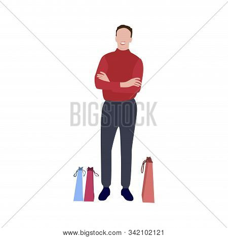 Man With Packets After Shopping. Guy Satisfied Wait With Purchase Isolated On White Background. Vect