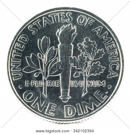 United States Coin. One Dime 2008 P. Reverse. Usa.