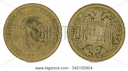 Old Spanish Coin Of 1 Peseta, Francisco Franco. Year 1966, 19 74 In The Stars.