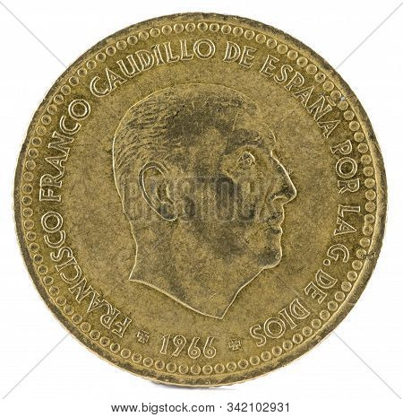 Old Spanish Coin Of 1 Peseta, Francisco Franco. Year 1966, 19 74 In The Stars. Obverse.