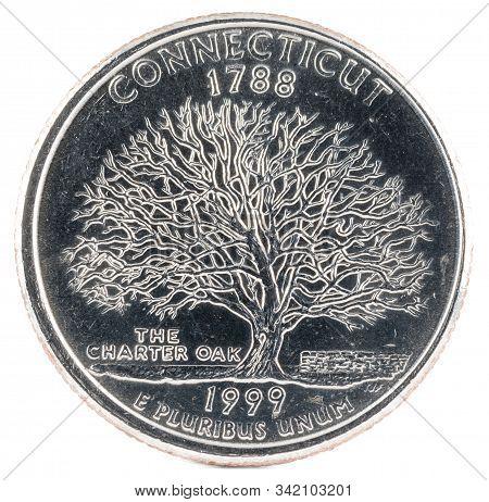 United States Coin. Quarter Dollar 1999 P. Reverse. Usa.
