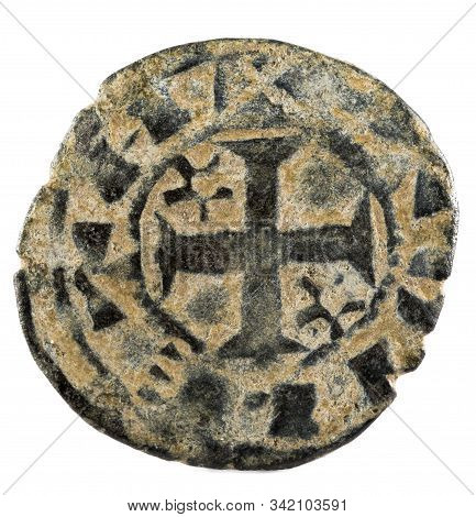 Ancient Medieval Fleece Coin Of The King Alfonso Viii. Dinero. Coined In Toledo. Spain. Reverse.