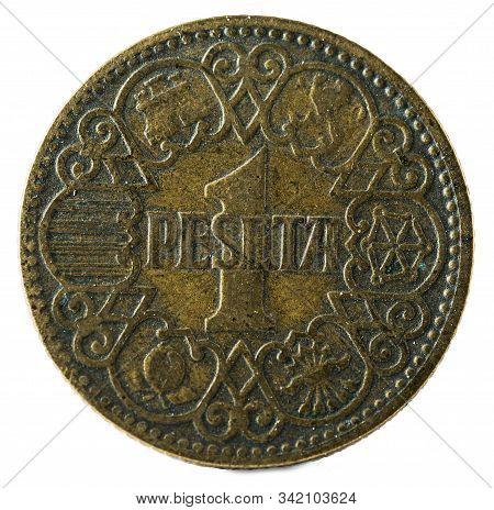 Old Spanish Coin Of 1 Peseta. Francisco Franco. Year 1944. Obverse.