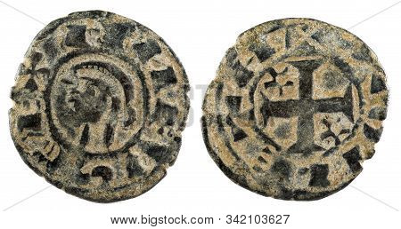 Ancient Medieval Fleece Coin Of The King Alfonso Viii. Dinero. Coined In Toledo. Spain.