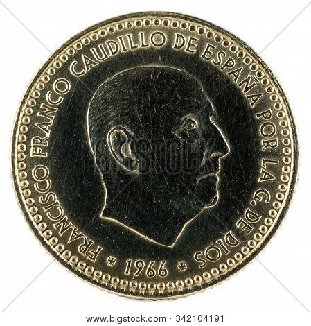 Old Spanish Coin Of 1 Peseta, Francisco Franco. Year 1966, 19 73 In The Stars. Obverse.