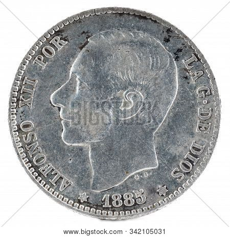 Ancient Spanish Silver Coin Of The King Alfonso Xii. 1 Peseta. 1885, 18 85 In The Stars. Obverse.