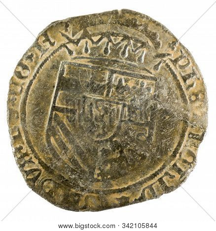 Ancient Coin Of The King Felipe I. Patard. Coined In Namur. Spanish Low Countries. Obverse.