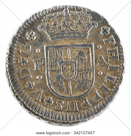 Ancient Spanish Silver Coin Of The King Felipe V. 1735. Coined In Sevilla. Medio Real. Obverse.
