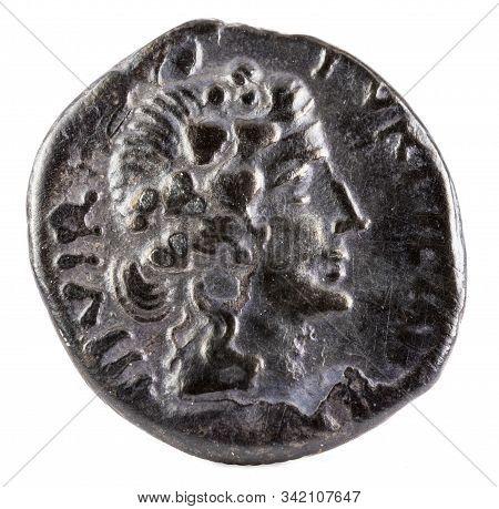 Octavian Augustus. Roman Republic Coin. Ancient Roman Silver Denarius Of The Family Petronia. Obvers