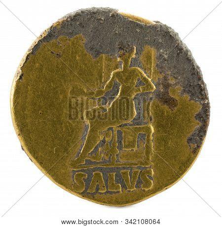 Ancient Roman Gold Aureus Coin Of Emperor Nero. Reverse.