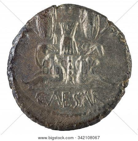 Roman Republic Coin. Ancient Roman Silver Denarius Of The Family Julia. Julius Caesar. Reverse.
