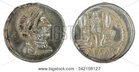 Roman Republic Coin. Ancient Roman Silver Denarius Of The Family Julia. Julius Caesar.