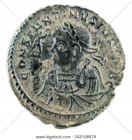 Ancient Roman Copper Coin Of Emperor Constantine Ii. Obverse.