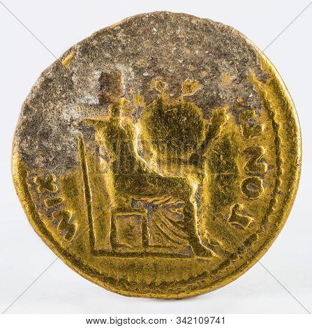 Ancient Roman Gold Aureus Coin Of Emperor Tiberius. Reverse.