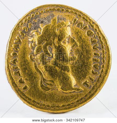 Ancient Roman Gold Aureus Coin Of Emperor Tiberius. Obverse.