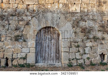 Door In The Walls Of The Ancient Castle In San Felices De Los Gallegos. Spain.