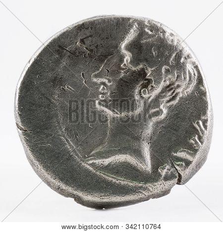 Ancient Roman Silver Quinarius Coin Of Emerita Augusta. Coined By Emperor Augustus. Obverse.