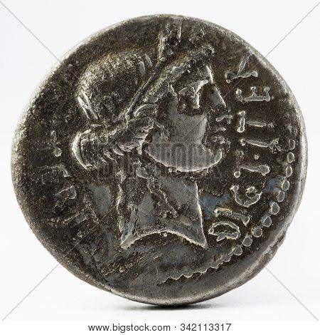 Roman Republic Coin. Ancient Roman Silver Denarius Of Julius Caesar. Obverse.