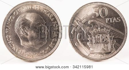 Old Spanish Coin Of 50 Pesetas, Francisco Franco. Coined In Nickel. Year 1957, 59 In The Star.