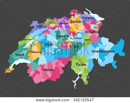 Switzerland Vector Map Colored By Cantons With Districts Boundaries