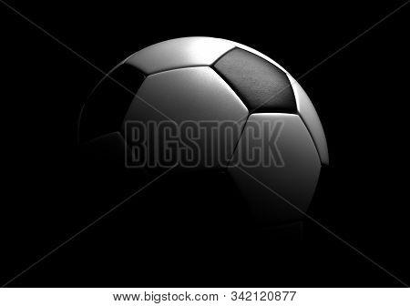 Single Soccer Ball On Black Background 3d Rendering