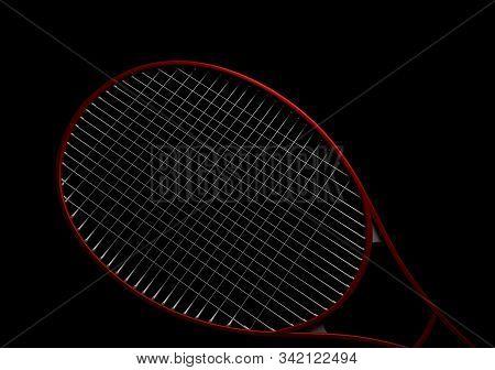 Single Tennis Racket On Black Background 3d Rendering