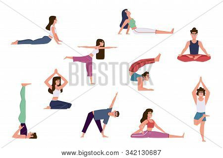 Yoga People. Group Of Men And Women Doing Yoga Exercises, Various Poses Of Warming Up And Healthy St
