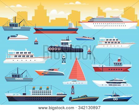 Maritime Transport. Shipping Dock With Big Sea Or Ocean Vessel And Sail Boat, Yacht And Travel Motor