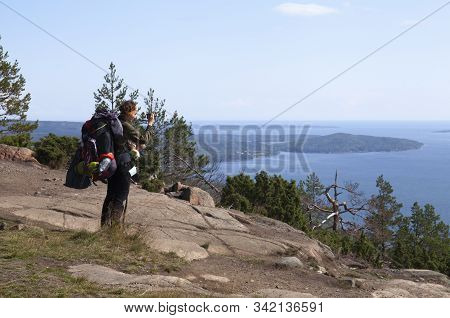 High Coast Heritage, Sweden On August 09. View Of An Unidentified Hiker And The Coast On August 09,