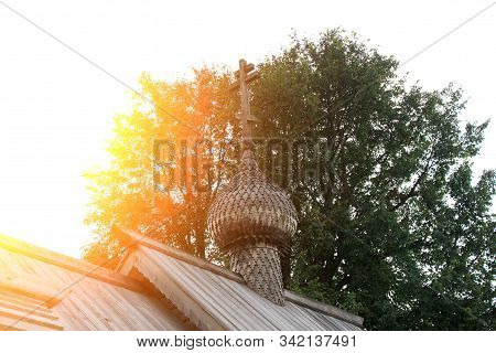 Dome And Cross Of Wooden Church Of Dmitry Solunsky At Fortress Staraya Ladoga, Russia.