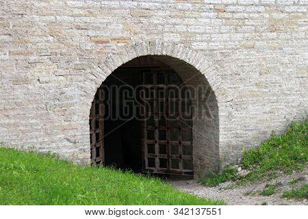 Entrance Door Into Gate Tower Of Stone Fortress Staraya Ladoga, Russia.