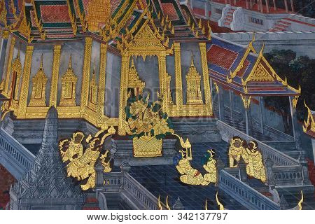 Bangkok, Thailand, December 27, 2018. Wall Paintings From A Buddhist Temple Depicting Scenes Of Cour
