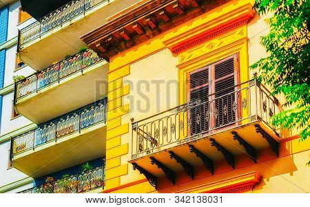 Balcony Of Residential Apartment Building In Palermo Reflex