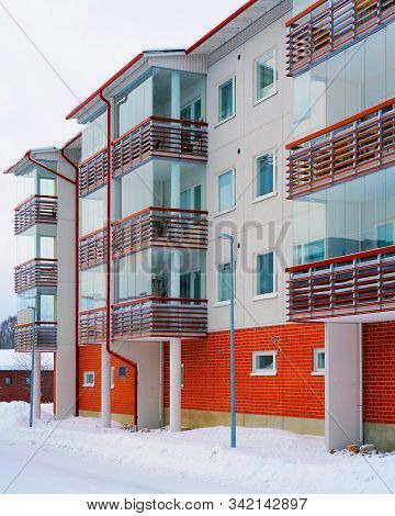 Modern Complex Of Apartment Residential Buildings Wintertime Reflex
