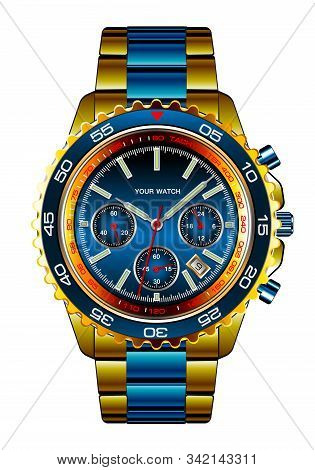 Realistic Wristwatch Chronograph Gold Blue Metallic Design For Men Luxury On White Background Vector