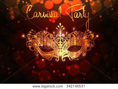 Carnival Party, Luxury Golden Carnival Mask, Masquerade, Mardi Gras. Carnival Gold Leaf Lettering De