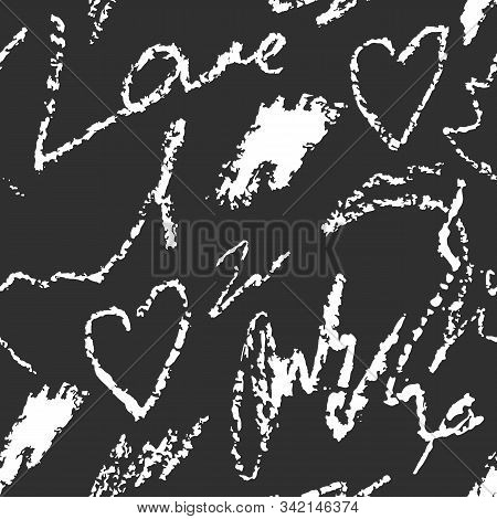 Abstract Seamless Pattern With Hand Drawn Writing Imitation Texture. Scrawls And Words, Vector Illus