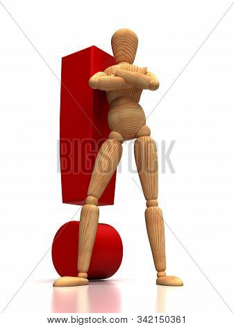 Exclamation Mark And Mannequin (isolated On White Background)