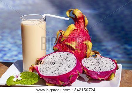 Dragon Fruit Smoothie On Wooden Table. Fresh Dragon Fruit Smoothie