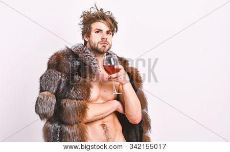 Sexy Sleepy Rich Macho Tousled Hair Drink Wine Isolated On White. Fashion And Pathos. Richness And L