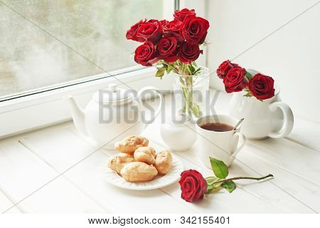 Valentine's Day Breakfast Composition With Red Roses Flowers. Valentine Card. Greeting Card Template