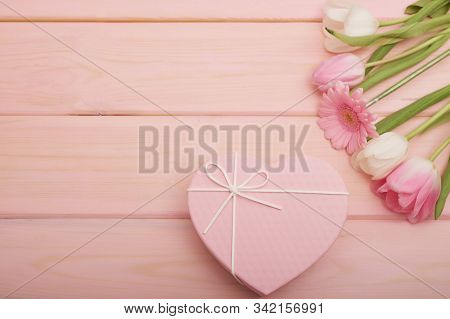 Valentine's Day Composition Pink Gift Box With Flowers. Valentine Card. Greeting Card Template. Spac