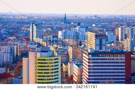 Aerial view on modern architecture in Potsdamer Platz Berlin reflex poster