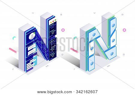 Letters N With Social Networks Elements Illustration. Creative 3d Isometric Design Of Alphabet Sign