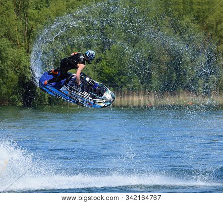 Wyboston, Bedfordshire, England - May 12, 2019: Jordan Aspinall Competing In Freestyle Jet Ski Compe