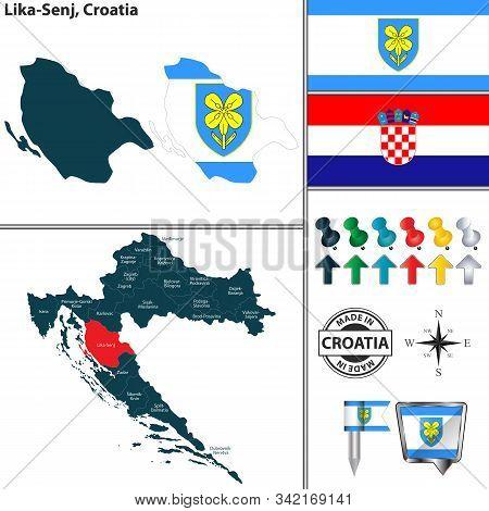Vector Map Of Lika Senj And Location On Croatian Map
