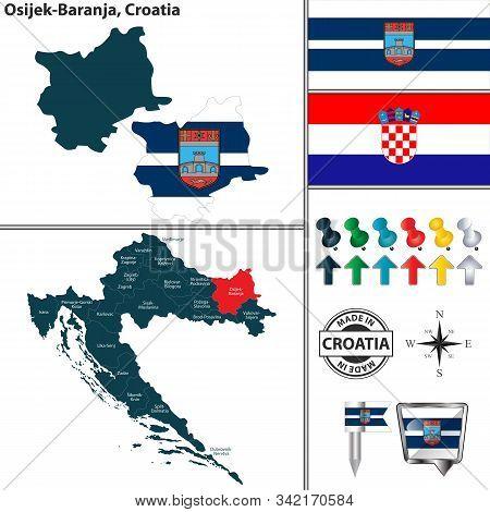Vector Map Of Osijek Baranja And Location On Croatian Map