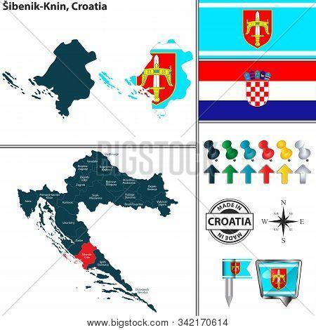 Vector Map Of Sibenik Knin And Location On Croatian Map